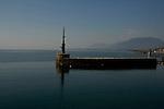 Break water at Neuchatel harbour, Neuchatel lake, Switzerland.