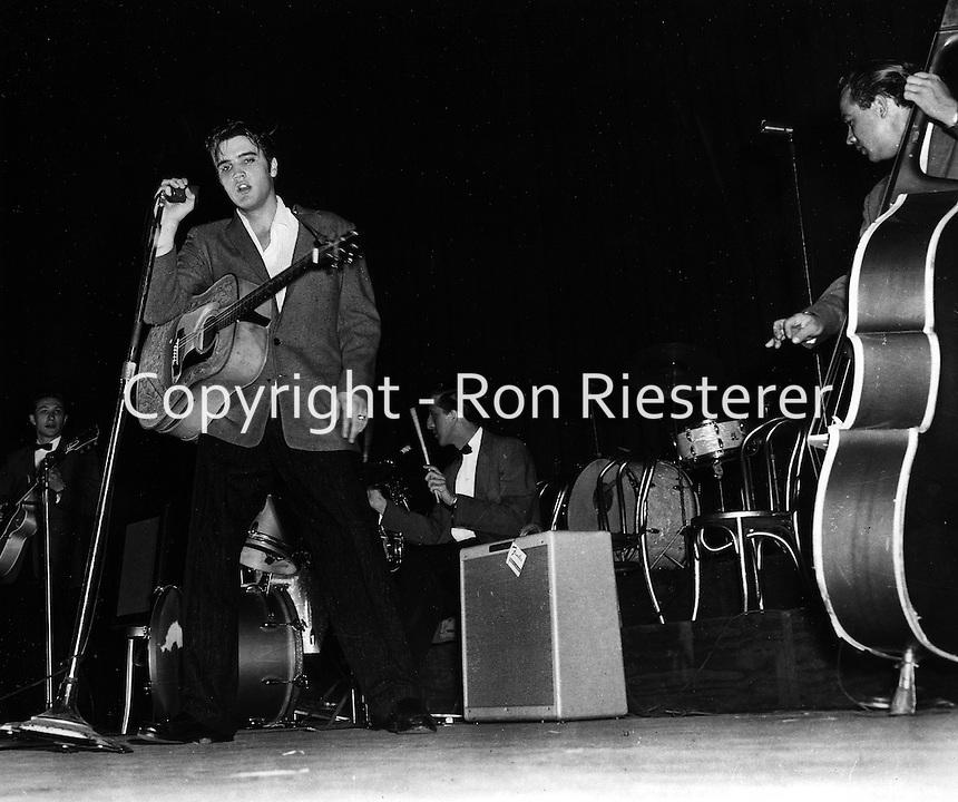 Elvis Presley performing in Oakland, California.<br />(1956 photos)