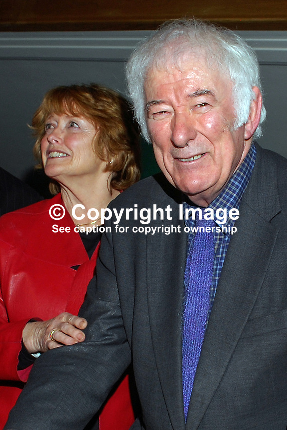 Nobel Laureate Irish poet Seamus Heaney who is this year celebrating his 70th birthday, with his wife, Marie, at a Queen's University Belfast, lunch followed by him being interviewed by broadcaster William Crawley. 200912023169..Copyright Image from Victor Patterson, 54 Dorchester Park, Belfast, UK, BT9 6RJ..Tel: +44 28 9066 1296.Mob: +44 7802 353836.Voicemail +44 20 8816 7153.Skype: victorpattersonbelfast.Email: victorpatterson@mac.com.Email: victorpatterson@ireland.com (back-up)..IMPORTANT: If you wish to use this image or any other of my images please go to www.victorpatterson.com and click on the Terms & Conditions. Then contact me by email or phone with the reference number(s) of the image(s) concerned.