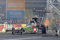 Apr. 7, 2013; Las Vegas, NV, USA: NHRA top fuel dragster driver Terry McMillen during the Summitracing.com Nationals at the Strip at Las Vegas Motor Speedway. Mandatory Credit: Mark J. Rebilas-