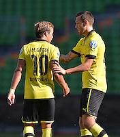 FUSSBALL   DFB POKAL   SAISON 2012/2013   1. Hauptrunde FC Oberneuland - Borussia Dortmund            18.08.2012 Mario Goetze (li) und Julian Schieber  (re., bei Borussia Dortmund)