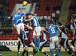 St Johnstone v Stenhousemuir&hellip;21.01.17  McDiarmid Park  Scottish Cup<br />Joe Shaughnessy and Keith Watson battle to win a corner<br />Picture by Graeme Hart.<br />Copyright Perthshire Picture Agency<br />Tel: 01738 623350  Mobile: 07990 594431