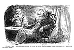 """""""Eh, but I had a rare time last year-r. A was at ma cousin MacWhuskie's a whole forrtnight, an' a didna once ken a was theer!"""" (two old Scottish men with similar beards, pipes and clothing share a drink)"""