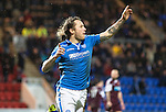 St Johnstone v Hearts.....18.01.14   SPFL<br /> Stevie May celebrates his hat-trick<br /> Picture by Graeme Hart.<br /> Copyright Perthshire Picture Agency<br /> Tel: 01738 623350  Mobile: 07990 594431