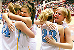 Arvada-Clearmont Lady Panthers,  from left, Monica Mines, Randa Clabaugh, Kortney Fisher and Katie Buell celebrate after winning the Class 1A state championship game Saturday at the Casper Events Center.