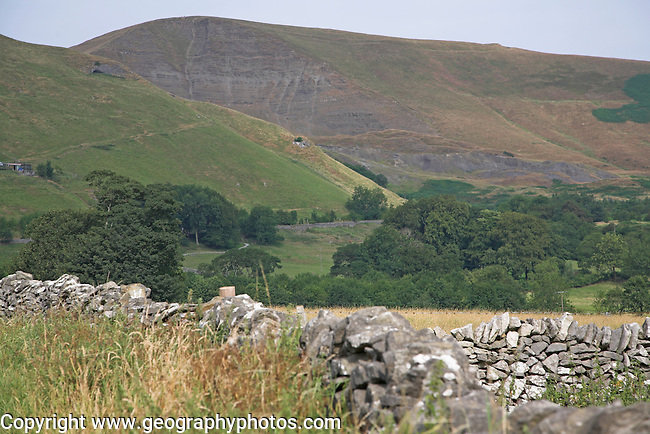 Mam Tor mountain face also known as Shivering Mountain on account of the instability of its lower shale layer, Derbyshire, England
