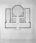 Pittsburgh PA:  View of a drawing created by Ingram & Boyd Architects of the new Buhl Planetarium.  This view is the initial 1st floor layout of the planetarium. The project was completed in 1939.  The Buhl Planetarium was built with monies from the Buhl Foundation; a foundation created by the wealthy North Side clothier Henry Buhl of Boggs and Buhl department store fame.  Brady Stewart was selected for the job due to his specialized equipment; an 8x10 Dierdorff camera, and his expertise in lighting and photographing large renderings and drawings.