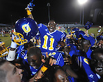 Oxford High's Glenn Gordon (11) celebrates vs. Lafayette High at Bobby Holcomb Field in Oxford, Miss. on Thursday, August 30, 2012. Oxford High won 19-0.