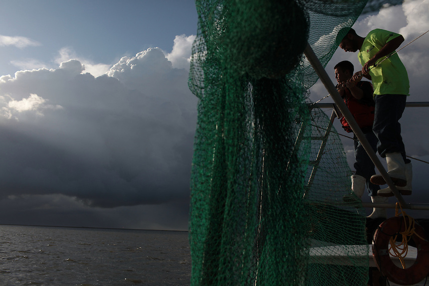 Mikey Labat and his brother Allen Labat pulling in hard boom around Pelican Island as a storm comes in to the Gulf of Mexico on August 30, 2010.