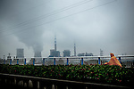 A bicyclist rides through the rain near a coal-fired power plant in Yangzhou, China, a suburb city of Shanghai and major producer of photovoltaic cells for solar power.