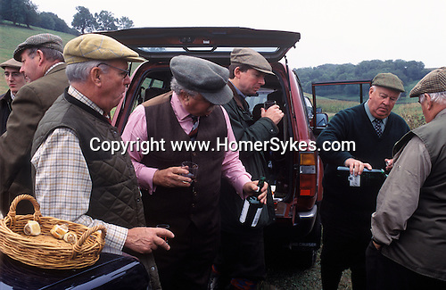 Game Bird Shoot, private estate shooters take lunch. Sussex.