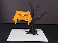 Owl on a tree origami designed and folded by Paul Frasco, New York, USA