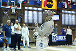 12 February 2017: UNC's Meredith Bozentka reacts during Saber. The Duke University Blue Devils hosted the University of North Carolina Tar Heels at Card Gym in Durham, North Carolina in a 2017 College Women's Fencing match. Duke won the dual match 14-13 overall and 7-2 in Epee. UNC won Foil 6-3 and Saber 5-4.