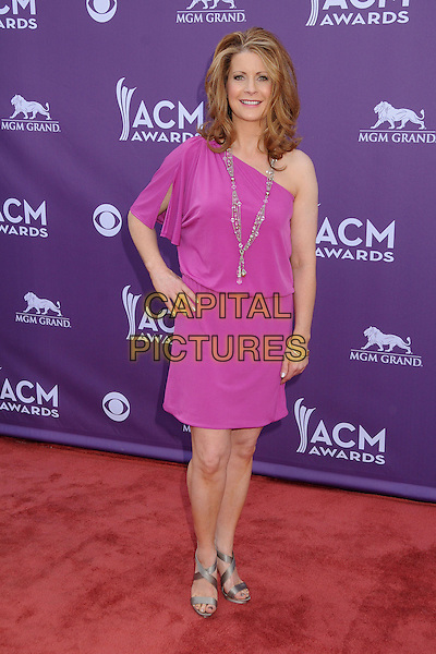 Gina Butler.48th Annual Academy of Country Music Awards - Arrivals held at the MGM Grand Garden Arena, Las Vegas, California, USA..April 7th, 2013.full length pink purple one shoulder hand on hip.CAP/ADM/BP.©Byron Purvis/AdMedia/Capital Pictures.