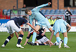 Dundee v St Johnstone....29.09.12      SPL.Murray Davidson battles with Mark Kerr.Picture by Graeme Hart..Copyright Perthshire Picture Agency.Tel: 01738 623350  Mobile: 07990 594431
