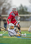 18 April 2015: University of Hartford Hawk Defender Kevin Sanna, a Junior from Pittsford, NY, in action against the University of Vermont Catamounts at Virtue Field in Burlington, Vermont. The Cats defeated the Hawks 14-11 in the final home game of the 2015 season. Mandatory Credit: Ed Wolfstein Photo *** RAW (NEF) Image File Available ***