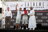 Extreme Sailing Series 2011. Leg 1. Muscat. Oman.Day 5 of racing.   Picture showing Sidney Gavignet and Nasser Al Mashari of Oman Air at prize-giving, The Wave, Muscat.