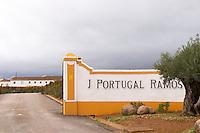 The winery. Sign on the entrance gate. J Portugal Ramos Vinhos, Estremoz, Alentejo, Portugal