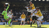 Bolton Wanderers' David Wheater out-jumps Port Vale's Andre Bikey and heads the opening goal <br /> <br /> Photographer Stephen White/CameraSport<br /> <br /> The EFL Sky Bet League One - Port Vale v Bolton Wanderers  - Saturday 22nd April 2017 - Vale Park - Burslem<br /> <br /> World Copyright &copy; 2017 CameraSport. All rights reserved. 43 Linden Ave. Countesthorpe. Leicester. England. LE8 5PG - Tel: +44 (0) 116 277 4147 - admin@camerasport.com - www.camerasport.com