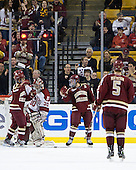 Johnny Gaudreau (BC - 13), Steven Whitney (BC - 21) - The Boston College Eagles defeated the Harvard University Crimson 4-1 in the opening round of the 2013 Beanpot tournament on Monday, February 4, 2013, at TD Garden in Boston, Massachusetts.