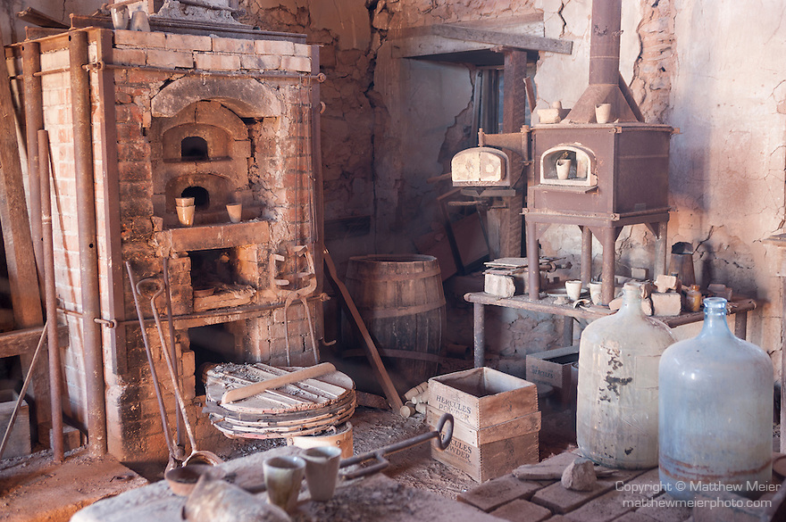 The Vulture Gold Mine, Vulture City, Arizona; interior view of the office space inside the Assay Office building, built in 1884 out of ore from the mine, it's walls contain over $600 thousand in gold and silver