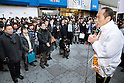 March 24, 2011, Tokyo, Japan - Former Gov. Hideo Higashikokubaru of Miyazaki prefecture, southern Japan, takes to the streets in Tokyo's Ikebukuro district on Thursday, March 24, 2011, as official campaigning for gubernatorial elections started in 12 prefectures including Tokyo. The 53-year-old comedian-turned-politician vies for the post against incumbent Shintaro Ishihara among other candidates in the April 10 election. (Photo by AFLO) [3609] -mis-.