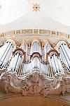 A pipe organ and sculptures in Saint Louis en L'Ile Church, Rue Saint-Louis en L'ile, Ile Saint-Louis, Paris, France