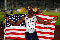 Tyson Gay of the USA after beating Asafa Powell of Jamaica at the World Championships on Sunday, August 26, 2007.Photo by Errol Anderson, Anderson Photo/Corbis