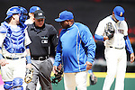 Seattle Mariners'  manager Lloyd Mclendon argues with home plate umpire Sean Barber about  pitching calls in their game against the Minnoseta Twins April 26, 2015 at Safeco Field in Seattle.  The Twins beat the Mariners beat the Angels 4--2. ©2015. Jim Bryant photo. All RIGHTS RESERVED.