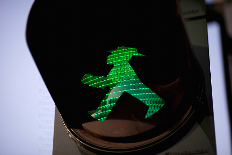 Ampelmännchen, or little traffic light man, typical of East Berlin and still in use. Berlin, Germany