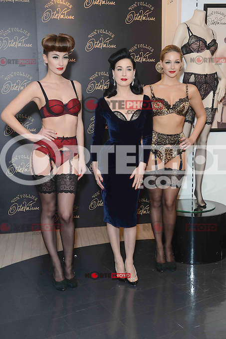 NON EXCLUSIVE PICTURE: PAUL TREADWAY / MATRIXPICTURES.CO.UK.PLEASE CREDIT ALL USES..WORLD RIGHTS..American burlesque dancer and model Dita Von Teese is pictured attending a photo call to launch her new lingerie range at Debenhams in London's Oxford Street...NOVEMBER 28th 2012..REF: PTY 125608 /NortePhoto
