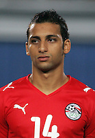 Egypt's Hosam Hassan (14) stands on the field before the match against Costa Rica during the FIFA Under 20 World Cup Round of 16 match between Egypt and Costa Rica at the Cairo International Stadium on October 06, 2009 in Cairo, Egypt.