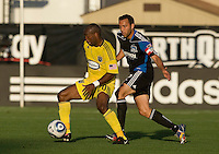 Emilio Renteria of the Crew controls the ball away from Ramiro Corrales of the Earthquakes during the game at Buck Shaw Stadium in Santa Clara, California on June 2nd, 2010.  San Jose Earthquakes tied Columbus Crew, 2-2.