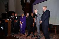NEW YORK, NY - APRIL 3: Hon. David N. Dinkins, Harry Belafonte, John McEnroe, Randy Levine, Charles B. Rangel, Dr. Phyllis Harrison-Ross pictured as David N. Dinkins, 106th Mayor of the City of New York, receives the Dr. Phyllis Harrison-Ross Public Service Award for a lifetime of public service at the New York Society of Ethical Culture in New York City on April 3, 2014. Credit: Margot Jordan/MediaPunch