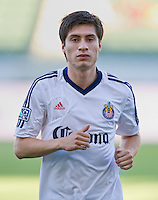 CARSON, CA - July 7, 2012: Chivas USA defender Jorge Villafana (19) prior to the Chivas USA vs Vancouver Whitecaps FC match at the Home Depot Center in Carson, California. Final score Vancouver Whitecaps FC 0, Chivas USA 0.