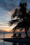 Taveuni, Fiji; sunset silhouette palm trees reflecting in the infinity pool at Paradise Taveuni Resort