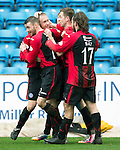 Kilmarnock v St Johnstone...05.04.14    SPFL<br /> Steven Anderson celebrates his goal<br /> Picture by Graeme Hart.<br /> Copyright Perthshire Picture Agency<br /> Tel: 01738 623350  Mobile: 07990 594431