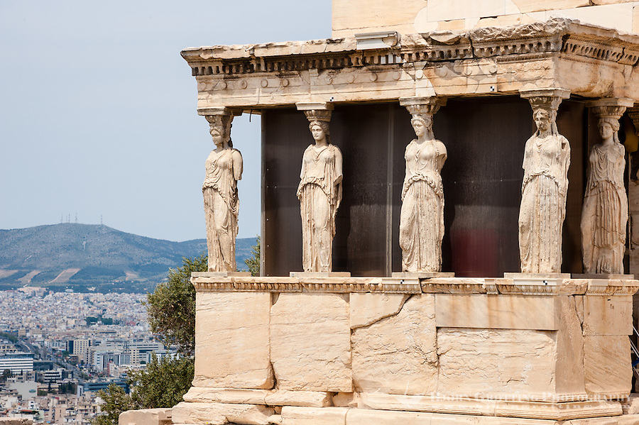 Greece, Athens. The Acropolis with several famous ancient strucures. The Erechtheion is an ancient Greek temple.