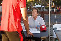 Stanford, Ca - October 8, 2016: Eric Poulsen, Olympian skiier, before the Stanford vs. Washington State game Saturday night at Stanford Stadium. <br /> <br /> Washington State won 42-16.