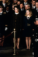 Washington National Cathedral - March 31, 1969. Pat Nixon, wife of former Vice President Nixon, with daughter Tricia at the funeral procession of former President Dwight Eisenhower. He (October 14, 1890 - March 28, 1969) was the 34th President of the United States from 1953 until 1961, was a five-star general in the United States Army during World War II and was the first supreme commander of NATO.