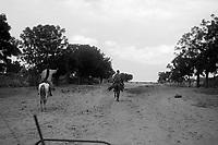near En Geneina, West Darfur, August 9, 2004.Janjaweed horsemen ('stolen' picture taken from a moving car).