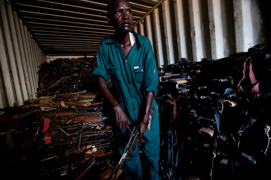 A SPLA gunsmith salvages guns siezed during governmental disarmnament campaigns. Over 30,000 guns have been taken since the peace aggreement, however 1.9 to 3.2 million guns remain in civilian hands.