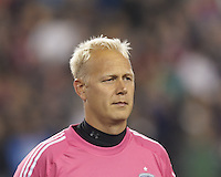 Sporting Kansas City goalkeeper Jimmy Nielsen (1). In the first game of two-game aggregate total goals Major League Soccer (MLS) Eastern Conference Semifinal series, New England Revolution (dark blue) vs Sporting Kansas City (light blue), 2-1, at Gillette Stadium on November 2, 2013.