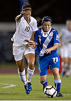 Carli Lloyd of USA (L) and Rocio Sosa of Guatemala (R) at the 2010 CONCACAF Women's World Cup Qualifying tournament held at Estadio Quintana Roo in Cancun, Mexico.