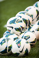 Soccer balls are lined up prior to the start of warmups. The women's national team of the United States defeated the Korea Republic 5-0 during an international friendly at Red Bull Arena in Harrison, NJ, on June 20, 2013.