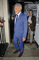 Sir Tom Jones departs from the stage door after the &quot;Breakfast at Tiffany's&quot; evening performance, Theatre Royal Haymarket, Suffolk Street, London, England, UK, on Monday 25 July 2016.<br /> CAP/CAN<br /> &copy;CAN/Capital Pictures /MediaPunch ***NORTH AND SOUTH AMERICAS ONLY***