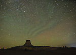 "Perseids meteor shower over Devil's Tower National Monument, WY, with ""green air"""