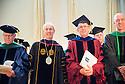 Dean Rick Morin, M.D., left, UVM President Thomas Sullivan, Robert Low, Ph.D., William Hopkins, M.D. Commencement, class of 2013.