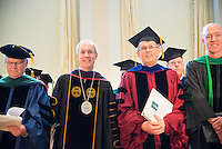 Dean Rick Morin, M.D., left, UVM President Thomas Sullivan, Robert Low, Ph.D., William Hopkins, M.D. Commencement, class of 2013.