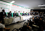 Taro Aso, president of Japan's ruling Liberal Democratic Party and prime minister of Japan (5th from left), and members of the LDP executive speaks with the media at the LDP's headquarters after Japan's elections in Tokyo, Japan on Sunday 30 August 2009..